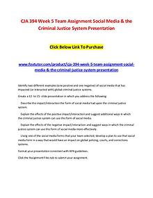 CJA 394 Week 5 Team Assignment Social Media & the Criminal Justice Sy