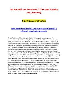 CJA 425 Module 4 Assignment 2 Effectively Engaging The Community