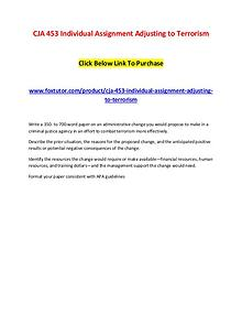 CJA 453 Individual Assignment Adjusting to Terrorism