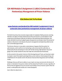 CJA 460 Module 5 Assignment 1 LASA 2 Centervale State Penitentiary Ma