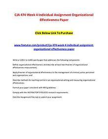 CJA 474 Week 4 Individual Assignment Organizational Effectiveness Pap