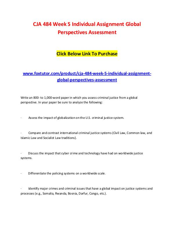 CJA 484 Week 5 Individual Assignment Global Perspectives Assessment CJA 484 Week 5 Individual Assignment Global Perspe