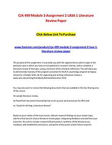 CJA 499 Module 3 Assignment 2 LASA 1 Literature Review Paper