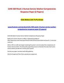 CJHS 430 Week 1 Human Service Worker Competencies Response Paper (2 P