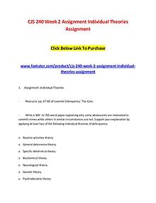 CJS 240 Week 2 Assignment Individual Theories Assignment