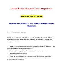 CJS 250 Week 8 Checkpoint Law and Legal Issues