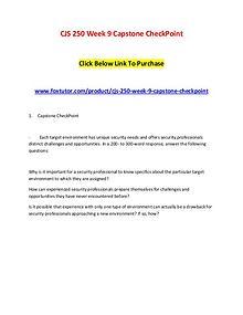 CJS 250 Week 9 Capstone CheckPoint