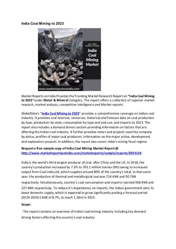 India Coal Mining Market Research Report 2022 India Coal Mining Market 2022