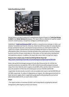 India Coal Mining Market Research Report 2022