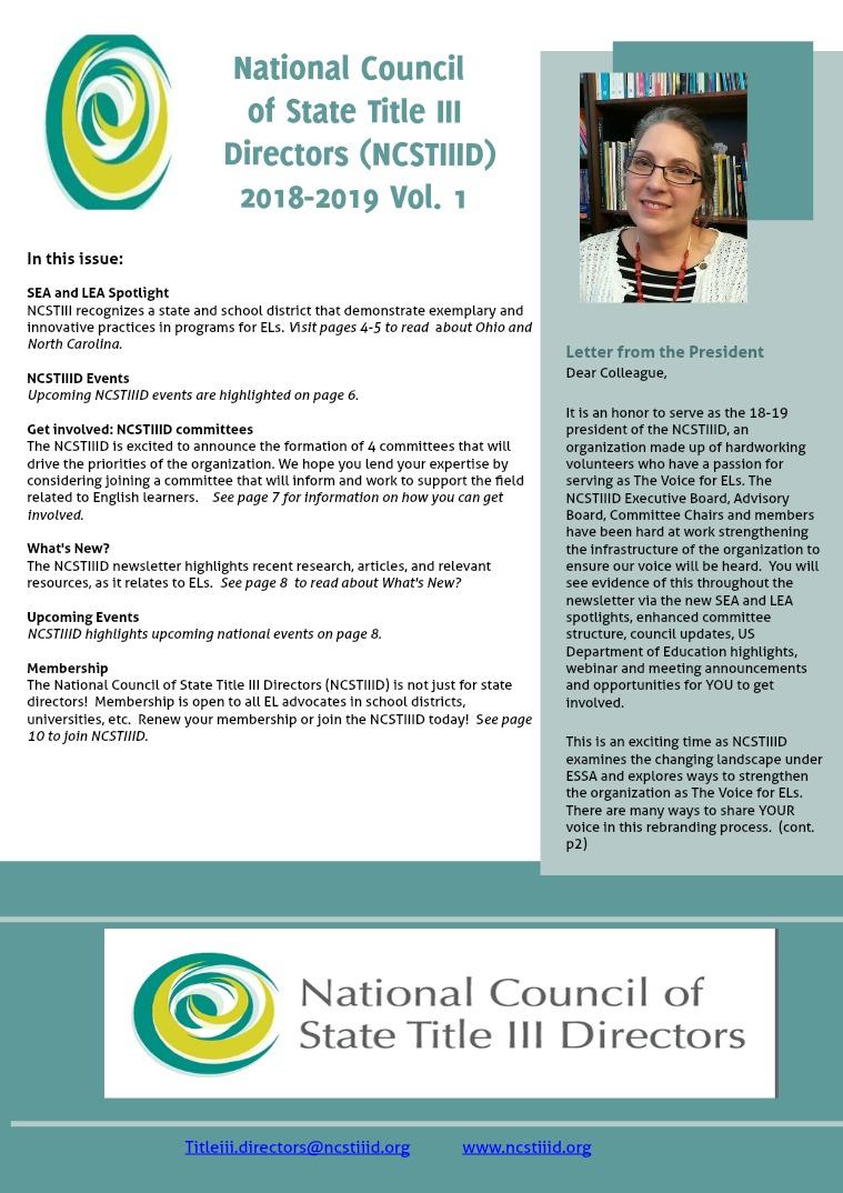 NCSTIIID Newsletter 2018-2019 Vol. 1