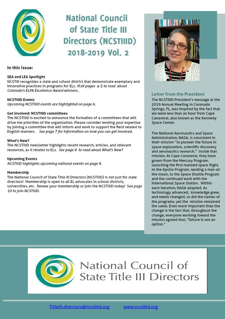 NCSTIIID Newsletter 2018-2019 Vol. 2