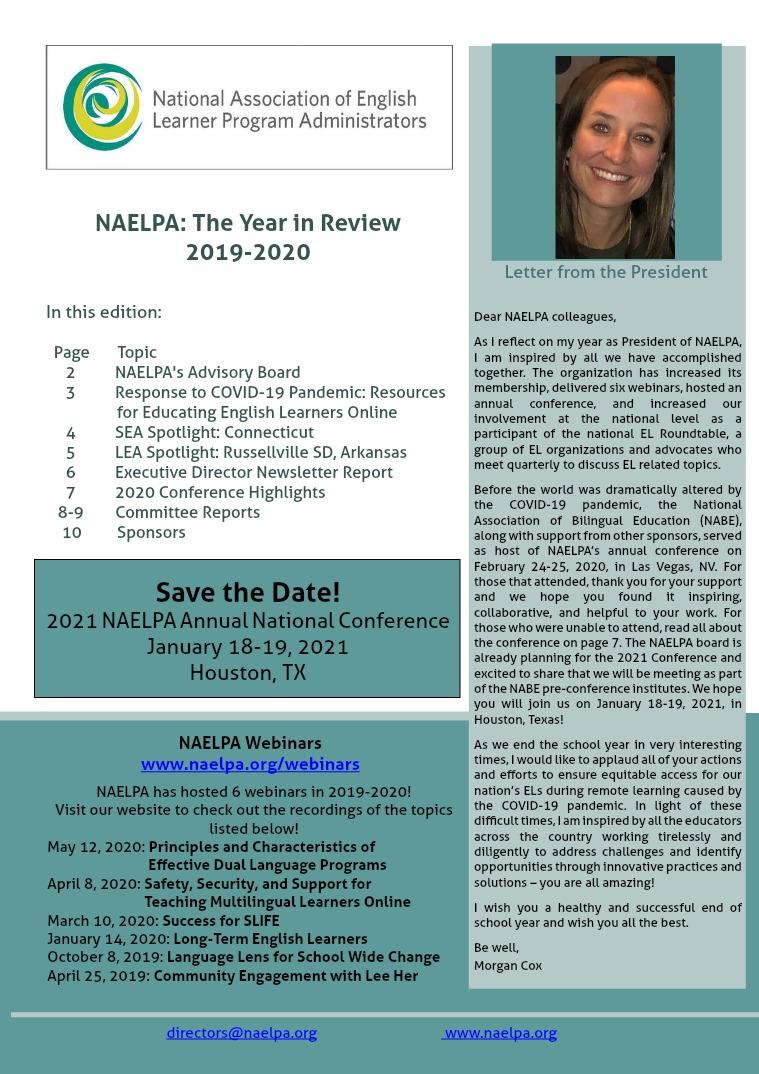 NAELPA Summer 2020 Newsletter 2020 edition