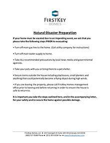 FirstKey Resident Disaster Plan
