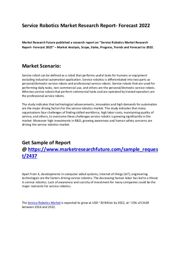 Market Research Future Service Robotics Market 2019