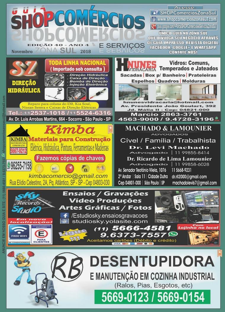 GUIA SHOPComércios Zona Sul #40 Nov/2018 GUIA SHOPCOMÉRCIOS #40 NOVEMBRO_18