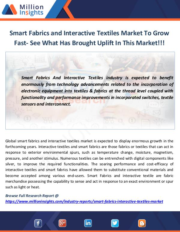 Smart Fabrics and Interactive Textiles Market