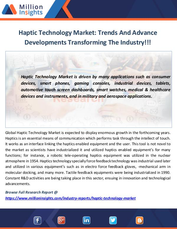 Market News Today Haptic Technology Market Trends
