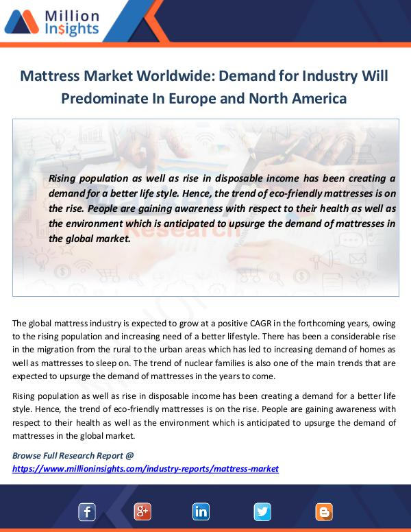 Market News Today Mattress Market Worldwide