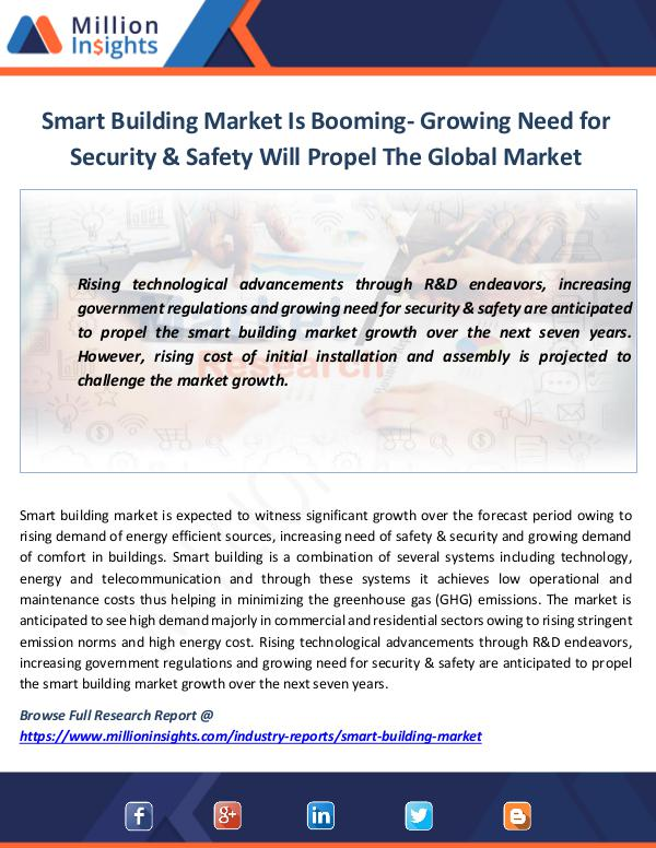 Smart Building Market Is Booming- Growing Need for