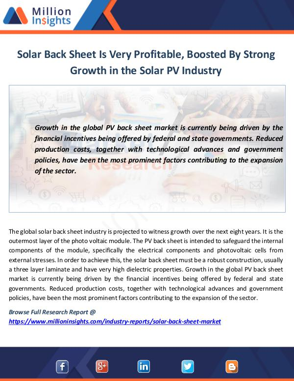 Market News Today Solar Back Sheet Is Very Profitable, Boosted By St