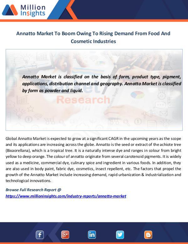 Annatto Market To Boom