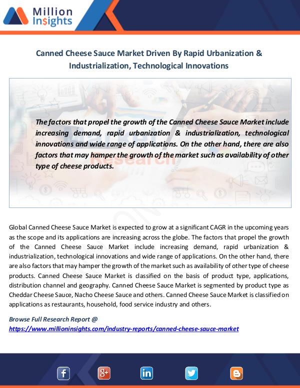 Market News Today Canned Cheese Sauce Market