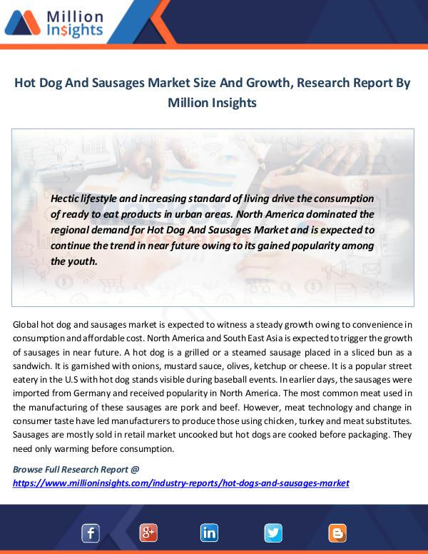 Hot Dog And Sausages Market Size And Growth