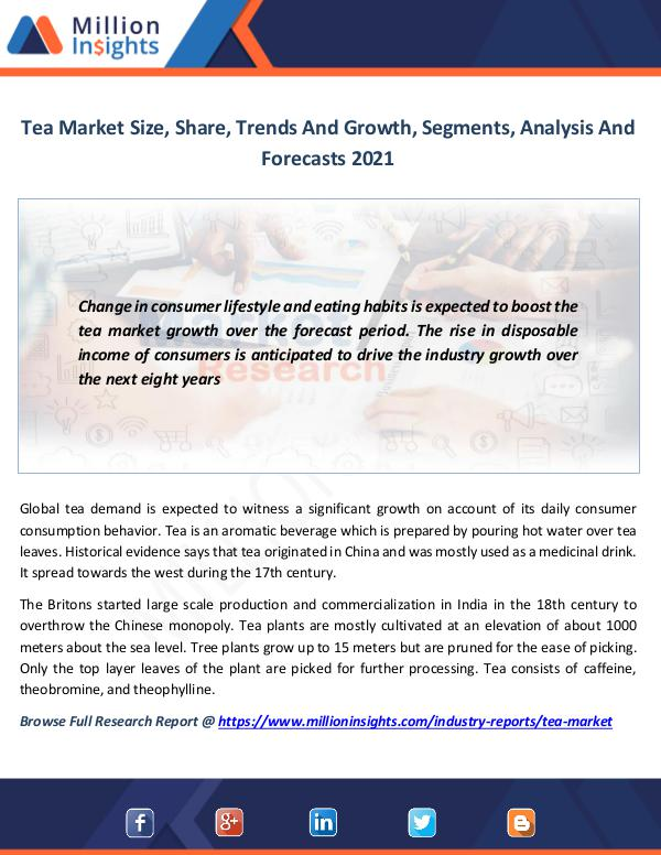 Market News Today Tea Market Size, Share, Trends And Growth, Segment