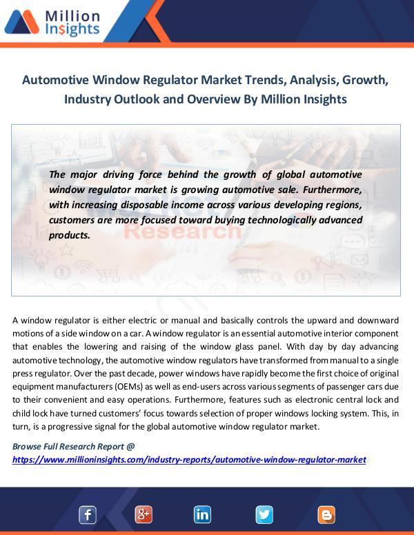 Market News Today Automotive Window Regulator Market