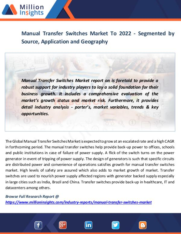 Manual Transfer Switches Market