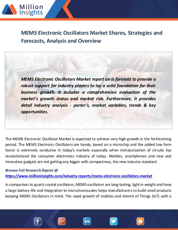 Market News Today MEMS Electronic Oscillators Market