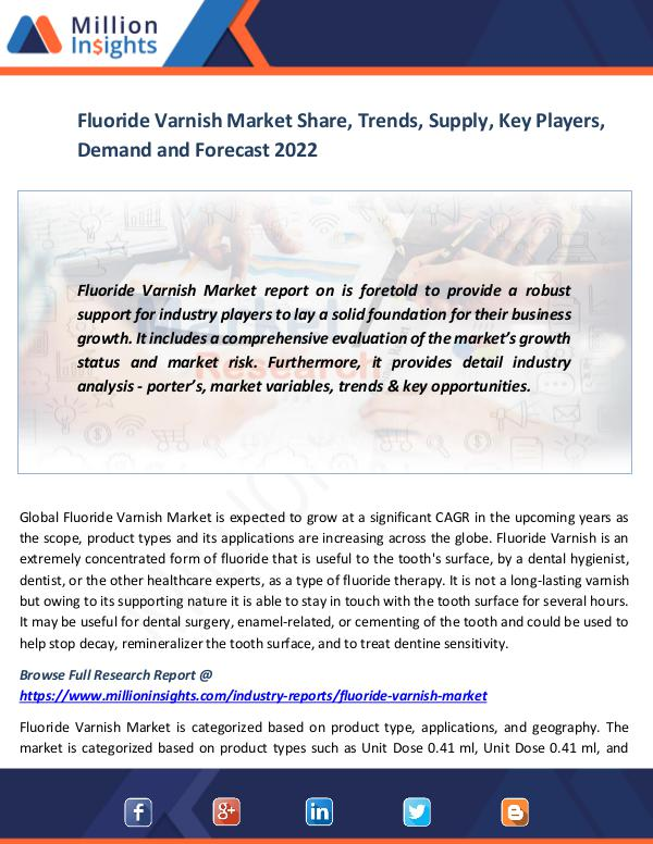 Market News Today Fluoride Varnish Market