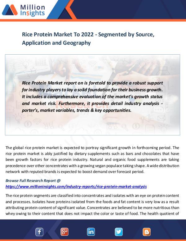 Rice Protein Market To 2022