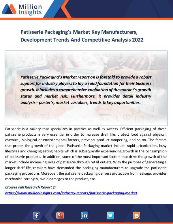 Patisserie Packaging's Market