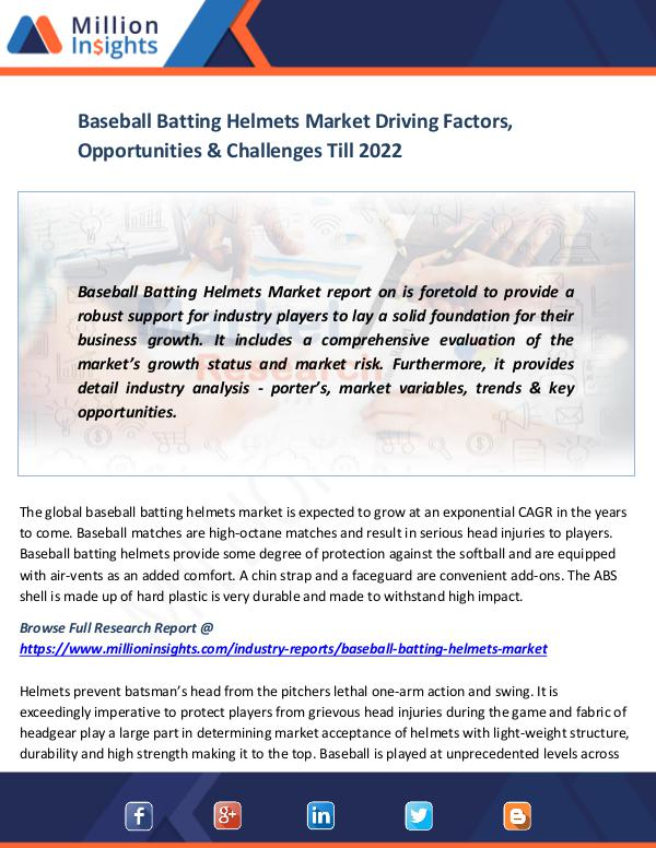 Market News Today Baseball Batting Helmets Market