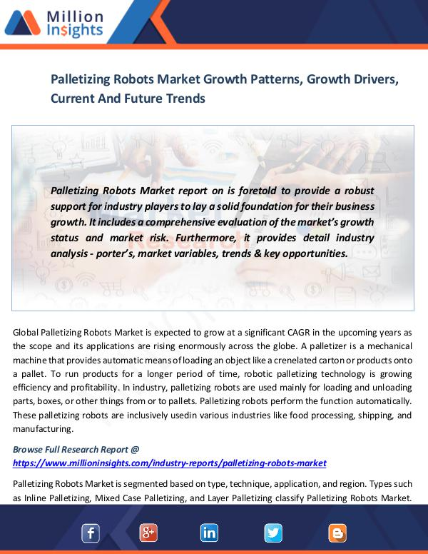 Market News Today Palletizing Robots Market