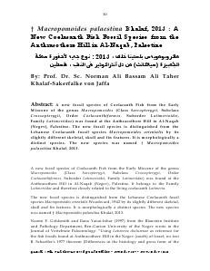 Gazelle : The Palestinian Biological Bulletin (ISSN 0178 – 6288) . Number 107, November 2013, pp. 30-38.