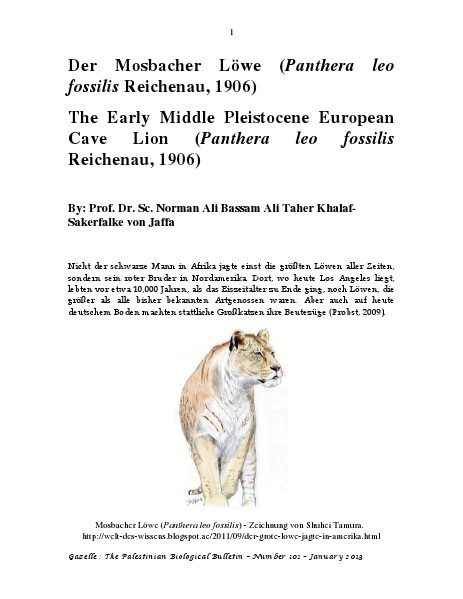 Gazelle : The Palestinian Biological Bulletin (ISSN 0178 – 6288) . Number 101, January 2013, pp. 1-26.