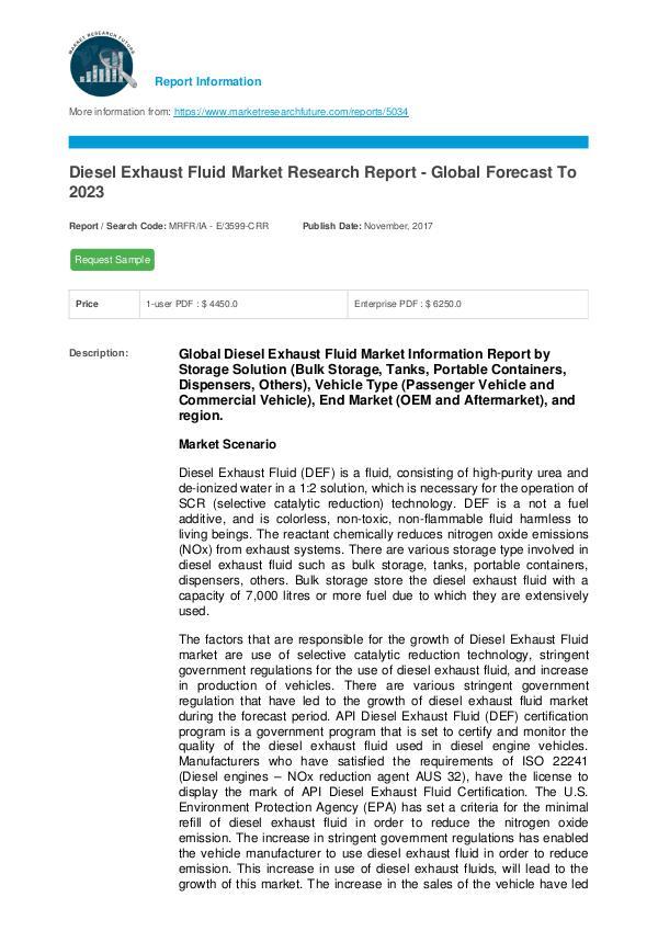 Diesel Exhaust Fluid Market Research Report - Glob
