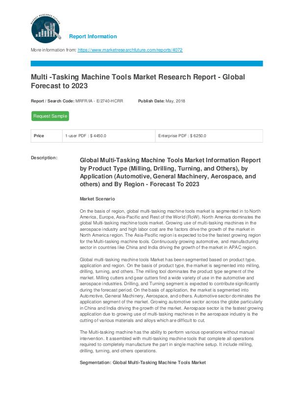Asia Pacific Blood Glucose Test Strip Packaging Market Research Repor Multi -Tasking Machine Tools Market Report - Forec