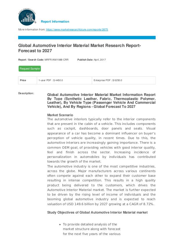 Asia Pacific Blood Glucose Test Strip Packaging Market Research Repor Global Automotive Interior Material Market Researc