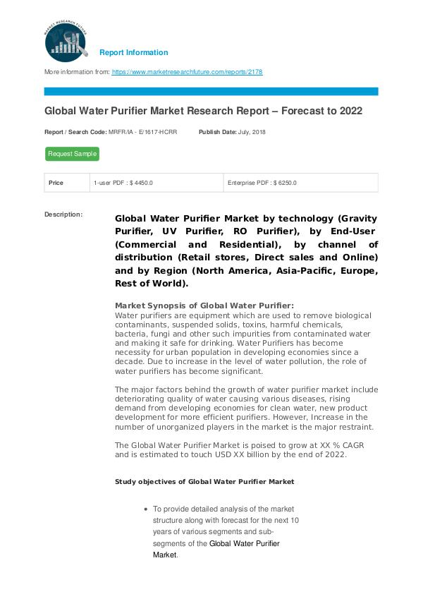 Asia Pacific Blood Glucose Test Strip Packaging Market Research Repor Global Water Purifier Market Research Report – For