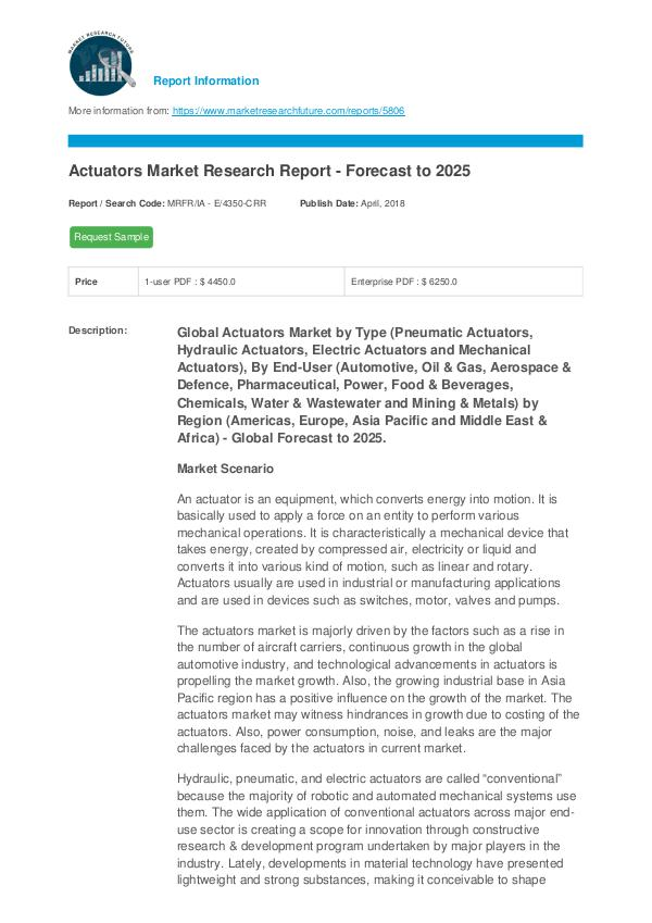 Actuators Market Research Report - Forecast to 202
