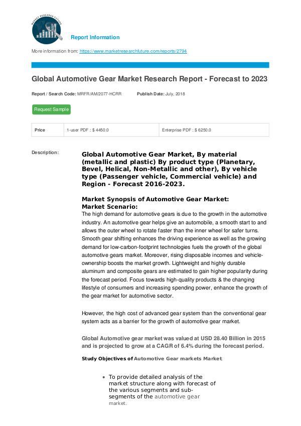 Automotive Gear Market Research Report - Forecast