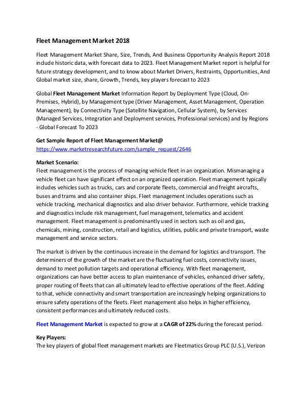 Fleet Management Market Research Report - Forecast
