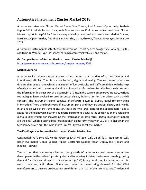 Automotive Instrument Cluster Market Research Repo