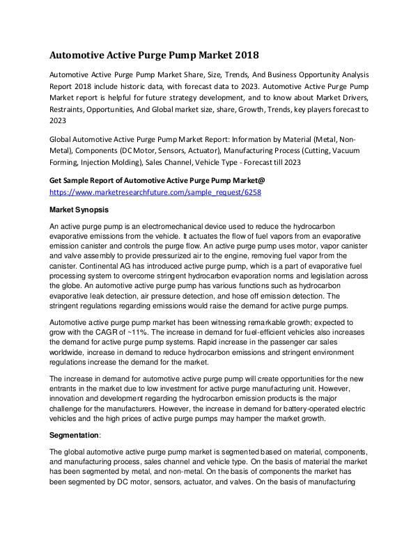 Automotive Active Purge Pump Market Research Repor