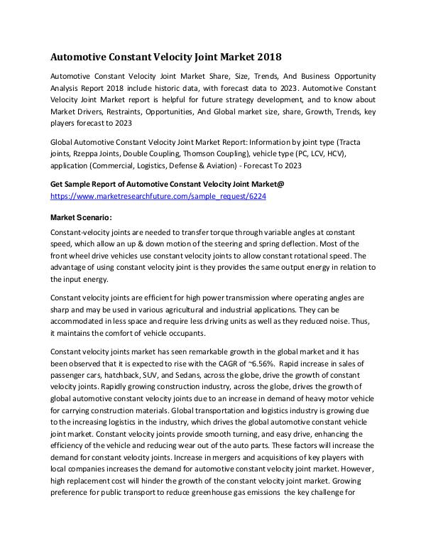 Automotive Constant Velocity Joint Market Research