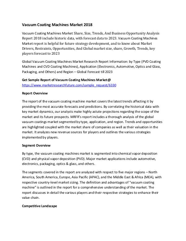 Vacuum Coating Machines Market Research Report – F