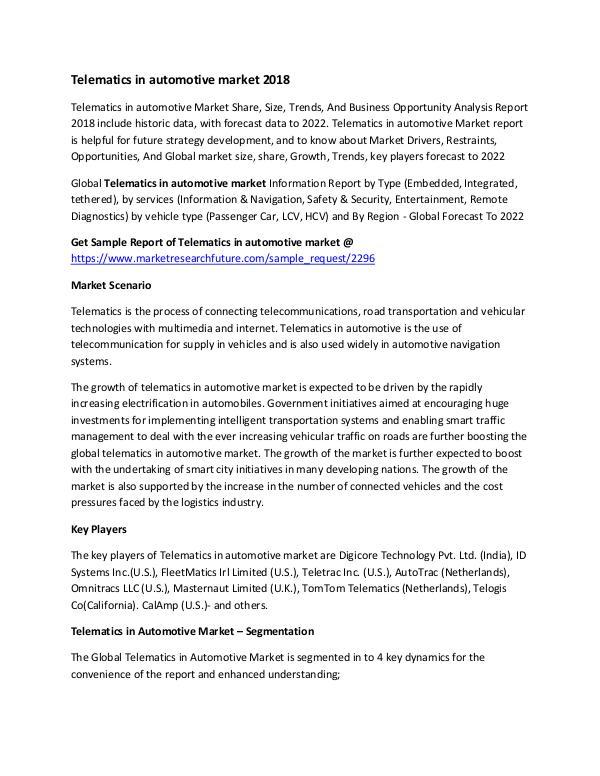 Telematics In Automotive Market Research Report- F